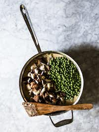 Making Flank Steak Pot Pie with Wild Mushrooms and Peas(Rebecca White/Special Contributor)