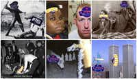 <p>The photos include (clockwise from top left) a slave being whipped, Michael Brown and former Ferguson Officer Darren Wilson, the assassination of Abraham Lincoln, the World Trade Center, a KKK cross-burning rally and Lee Harvey Oswald after he was shot.</p>