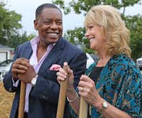 Plano Mayor Harry LaRosiliere talks with Emily's Place CEO Lori Conley during the groundbreaking ceremony.(Louis DeLuca/Staff Photographer)