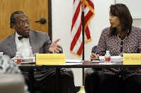 "<p>Dallas County Commissioner John Wiley Price spoke with <span style=""font-size: 1em; background-color: transparent;"">Dallas County Juvenile Board </span><span style=""font-size: 1em; background-color: transparent;"">member Terry Smith during a meeting  in July 2014.</span></p>(2014 File Photo/Ben Torres )"