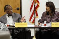 "<p>Dallas County Commissioner John Wiley Price spoke with&nbsp;<span style=""font-size: 1em; background-color: transparent;"">Dallas County Juvenile Board&nbsp;</span><span style=""font-size: 1em; background-color: transparent;"">member Terry Smith during a meeting &nbsp;in July 2014.</span></p>(2014 File Photo/Ben Torres&nbsp;)"