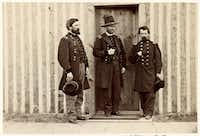 Gen. U.S. Grant (center) with John Rawlins (left) and an unidentified officer. Rawlins was Grant's chief of staff, trusted adviser and conscience during the Civil War.(Library of Congress)