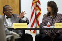 Dallas County Commissioner John Wiley Price speaks during a weekly meeting with the Dallas County Juvenile Board at the county's Juvenile Justice Education Facility. Terry Smith, executive director of the juvenile department, is at right.(2014 File Photo/Ben Torres)