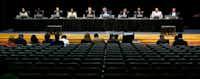 The DISD school board during a public forum at Emmett J. Conrad High School in Dallas on Sept. 28, 2017.(Nathan Hunsinger/Staff Photographer)