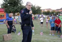 Plano Police Chief Greg Rushin discussed home safety issues at the National Night Out event in the Kings Ridge neighborhood in Plano in 2015.(Stewart F. House/Special Contributor)