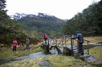 Stella Australis cruise guests enjoy a morning hike as the ship drops anchor for a few hours along the Strait of Magellan.(Janis Turk/Special Contributor)