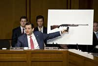 Sen. Ted Cruz, in a 2013 Senate hearing one month after the Sandy Hook Elementary School attack, fought against gun restrictions. (File Photo/The Associated Press)