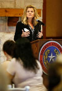 Collin County assistant district attorney Kim Laseter speaks to salon professionals during a luncheon geared to educate salon professionals about domestic violence at the Landing in McKinney on Monday, Oct. 2, 2017.(Vernon Bryant/Staff Photographer)