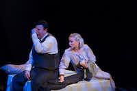 Thomas Ward as Mr. Zero and Jeni Roller as Mrs. Zero in <i>Adding Machine: A Musical</i>(Jeffrey Schmidt)