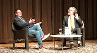 Dallas Theater Center artistic director Kevin Moriarty (left) interviews author Michael Chabon on Monday at the Dallas Museum of Art.(Michael Merschel)