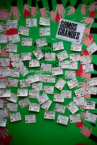 A board in Mexico City is full of messages of encouragement and pleas for assistance after a pair of devastating earthquakes struck Mexico. (Alfredo Estrella/Agence France-Presse)