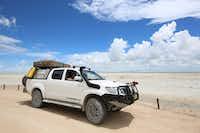 Rental car from Safari Car Rental Namibia in the Etosha salt pan.(Michaela Urban/Special Contributor)