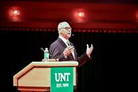 University of North Texas President Neal Smatresk gives his state of the university address in September 2016 at the Murchison Performing Arts Center.(Tomas Gonzalez/Denton Record-Chronicle)