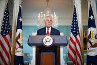 """Secretary of State Rex Tillerson denied Wednesday he had considered resigning from Donald Trump's cabinet and dismissed a report that he had called the president a """"moron"""" as """"petty nonsense."""" """"The vice president has never had to persuade me to remain as secretary of state because I have never considered leaving this post,"""" Tillerson said, denying an NBC News report.(Jim Watson/Agence France-Presse)"""