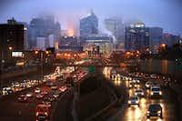 Traffic on Interstate 35W flows northbound toward downtown Minneapolis.(Leila Navidi/The Associated Press)