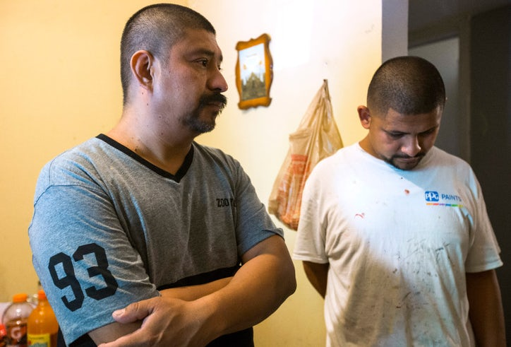 Jose Palma (left) and his son Jose Palma talk about their family's ordeal.  They found out that the man who sold them their Pine Street home was not  the ...