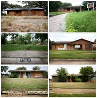 These properties on Memory Lane in Pleasant Grove; North Atoll Drive and Vandervort Drive in East Oak Cliff; and Tioga Street in far southern Dallas County were among dozens involved in a wide-ranging property fraud scam targeting vulnerable people in Dallas. (Rose Baca/Staff photographer)