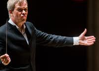 Hannu Lintu conducts the Dallas Symphony Orchestra on  Sept. 21.  (Ashley Landis/Staff Photographer)