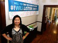 <p>Connie Trinh, 27, in the Dallas office of the National Alliance on Mental Illness, works with NAMI as a volunteer to talk to college students about mental health issues and her own experiences.</p>(David Woo/Staff Photographer)