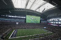 A look at the stadium during the Los Angeles Rams vs. the Dallas Cowboys NFL football game at AT&T Stadium in Arlington on Sunday.(Louis DeLuca/Staff Photographer)
