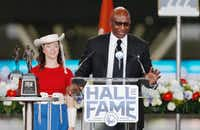 Former SMU football great Eric Dickerson was inducted into the Cotton Bowl Hall of Fame in 2016.(Brandon Wade/Special Contributor)