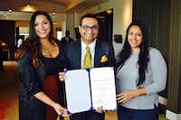 From left: Nisha Bhatt, DFW South Asian Film Festival coordinator, Jitin Hingorani, festival founder, and Ambica Dev, artistic director, received a Most Innovative Small Business of the Year Award at the U.S. India Chamber Governor's Small Business Forum.(Amrit Kirpalani)