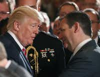 President Donald Trump talks with Texas Sen. Ted Cruz during a White House event regarding the modernization of the nation's air traffic control system on June 5, 2017.(File Photo /Getty Images)