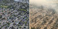 The Coffey Park subdivision in Santa Rosa, Calif., is seen before, left, and after wildfires swept through the area on Monday, Oct. 9, 2017. Officials have called it one of the most destructive fire emergencies in the state's history.(Before: Google Earth/After, California Highway Patrol)