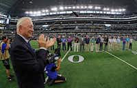 Cowboys owner Jerry Jones clapped for members of the 1967 Cowboys team before the Los Angeles Rams played the Cowboys on Oct. 1, 2017 in Arlington.(Paul Moseley/Fort Worth Star-Telegram)