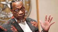 <p>Dallas County Commissioner John Wiley Price at a December 2016 commissioners court meeting.</p>(2016 File Photo/Nathan Hunsinger)