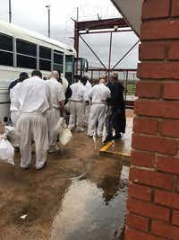 Inmates in Rosharon are evacuated by bus before expected flooding in the town south of Houston on Aug. 26, 2017.(Texas Department of Criminal Justice/Courtesy)