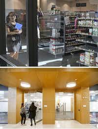 A small store for employees (top) operates on campus at the Toyota headquarters. The entrance to the pharmacy and convenience store run by Wal-Mart (below) is next to a Be Well medical clinic.(Louis DeLuca and Tom Fox/The Dallas Morning News)