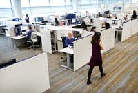 Spacious and open office spaces in Toyota's new North American headquarters campus in Plano.(Tom Fox/Staff Photographer)