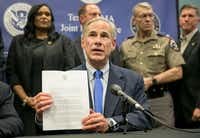 Texas Gov. Greg Abbott speaks about Hurricane Harvey recovery efforts at a news conference at the Texas FEMA Joint Field Office in Austin on Sept. 26.(Jay Janner/Austin American-Statesman)
