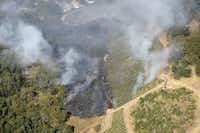 The rapidly spreading wildfires apprach Craig and Kathryn Hall's Walt Ranch vineyards, right.(Courtesy of Craig Hall)