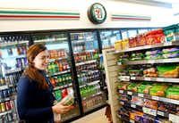 7-Eleven's new 7-Select Go! Smart and Go! Yum products are pictured in a convenience store located at its new headquarters building in Irving in January.(File Photo/Tom Fox)