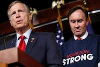 Rep. Brian Babin (left), R-Woodville, spoke about an emergency funding bill for Harvey relief efforts in early September. At right is Rep. Pete Olson, R-Sugar Land. (Jacquelyn Martin/The Associated Press)