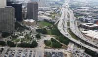 Aerial of Interstate 345 as it slices past downtown and Deep Ellum(David Woo/Staff Photographer)