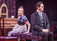John-Michael Marrs as Mr. Darcy and Jenny Ledel as Lizzy in<i> Pride and Prejudice</i> by WaterTower Theatre in Addison.(Ron Heflin/Special Contributor)