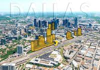 A proposed site plan for Amazon HQ2 in Victory Park in downtown Dallas.(Debra Hale)