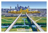 A 50-acre site in downtown Dallas for Amazon HQ2 that would incorporate plans for a Dallas-to-Houston bullet train.(Hunt Realty Investments)