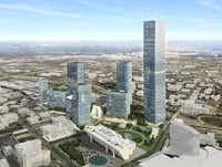 The largest building in the Dallas Smart District would be a 78-story skyscraper that would be the tallest in Dallas.(Pelli Clarke Pelli)