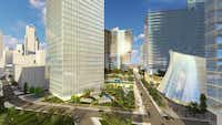The Dallas Smart District would occupy about eight blocks on the south side of downtown Dallas.(Pelli Clarke Pelli)