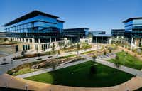 Toyota's new North American headquarters campus is viewed from the main terrace in Plano.(Tom Fox/Staff Photographer)