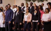 Members of the New Covenant Christian Fellowship Church Choir sing during Sunday service Oct. 15, 2017. The choir will perform in three cities in Spain later this month.(Ron Baselice/Staff Photographer)