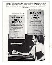 "Warren Commission Exhibits 2966a and Exhibit 2966b: Lee Harvey Oswald distributing ""Fair Play for Cuba"" handbills in New Orleans on Aug. 16, 1963. Insets show samples of his handbills, on which he had stamped his name and the name of A.J. Hidell.(Warren Commission)"