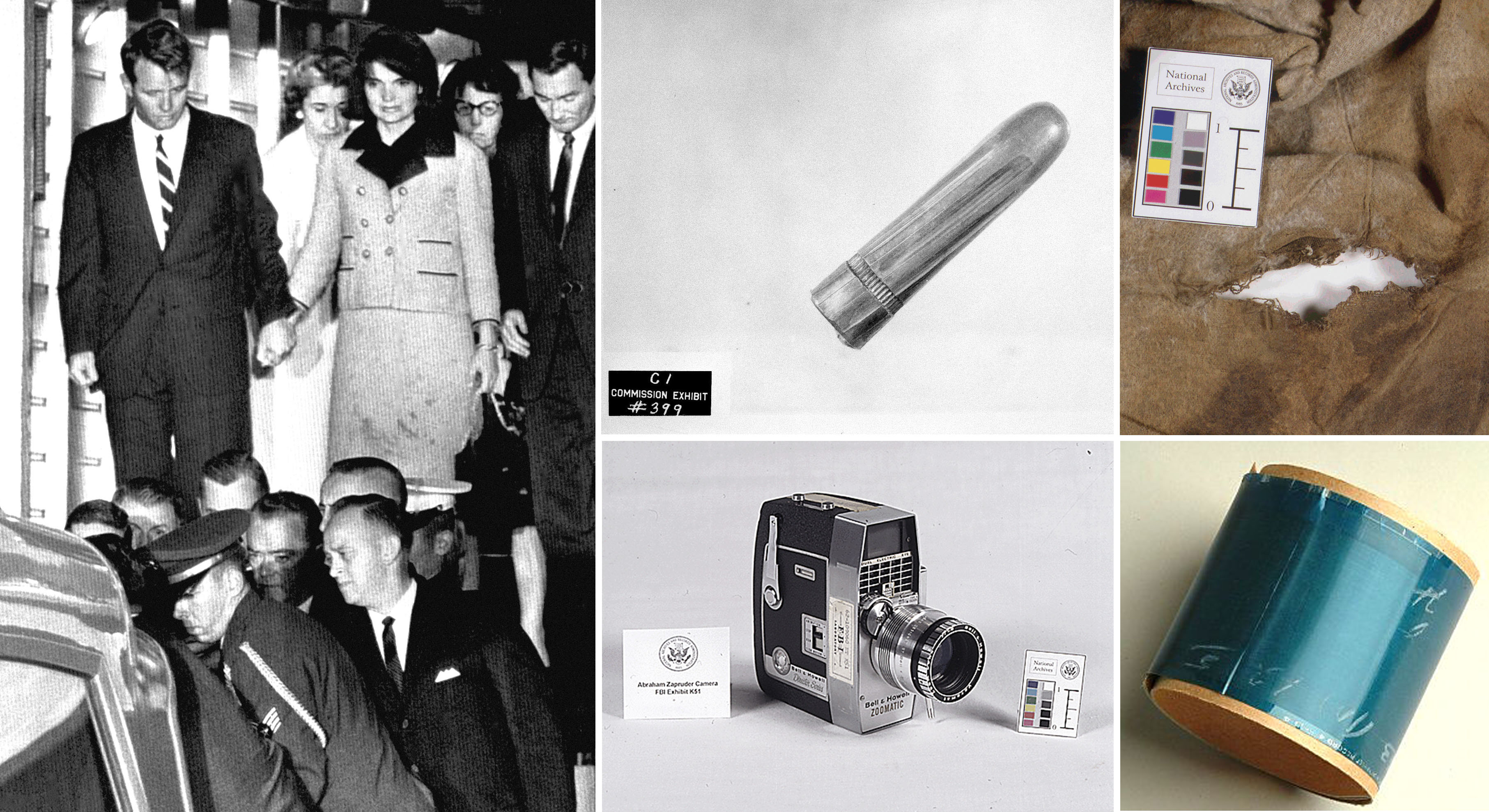 Artifacts from the Kennedy assassination that are preserved in the National Archives include: The bloodstained outfit Jacqueline Kennedy refused to change out of until her return to Washington a bullet found on a stretcher at Parkla
