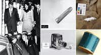 Artifacts from the Kennedy assassination that are preserved in the National Archives include (clockwise from left): The bloodstained outfit Jacqueline Kennedy refused to change out of until her return to Washington; a bullet found on a stretcher at Parkland Memorial Hospital where President Kennedy was taken; a bullet hole in the shirt Lee Harvey Oswald was wearing when he was killed by Jack Ruby; the dictabelt from a Dallas police motorcycle that recorded audio of the assassination; and the movie camera used by Abraham Zapruder when he filmed the moment of Kennedy's death.(The Associated Press (left) and The National Archives)