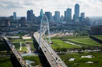 The Margaret Hunt Hill Bridge and downtown Dallas skyline(Smiley N. Pool/Staff Photographer)