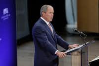 Former U.S. President George W. Bush speaks at a forum sponsored by the George W. Bush Institute in New York on Thursday. (Seth Wenig/AP)